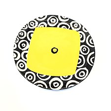 Large Round Dinner Plate in Yellow with Donut Pattern by Matthew A. Yanchuk (Ceramic Plate)