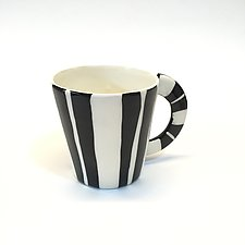 Large Mug in Black and White with Stripes by Matthew A. Yanchuk (Ceramic Mug)