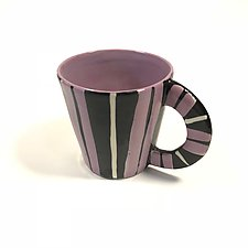 Large Mug in Purple with Stripes by Matthew A. Yanchuk (Ceramic Mug)