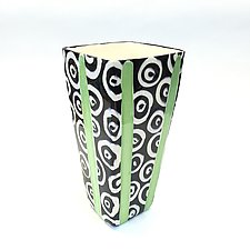 Large Square Vase in Bright Green with Donut Pattern by Matthew A. Yanchuk (Ceramic Vase)