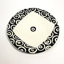 Large Round Dinner Plate in Black and White with Donut Pattern by Matthew A. Yanchuk (Ceramic Plate)