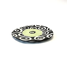 Small Disc Plate in Bright Green in Donut Pattern by Matthew A. Yanchuk (Ceramic Plate)
