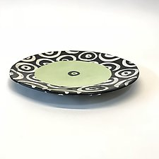 Medium Disc Plate in Bright Green with Donut Pattern by Matthew A. Yanchuk (Ceramic Plate)