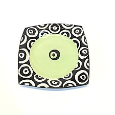 Large Square Plate in Bright Green with Donut Pattern by Matthew A. Yanchuk (Ceramic Plate)