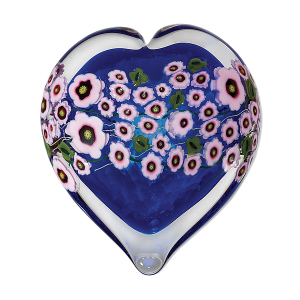 Pink Star Flower on Blue Heart Paperweight