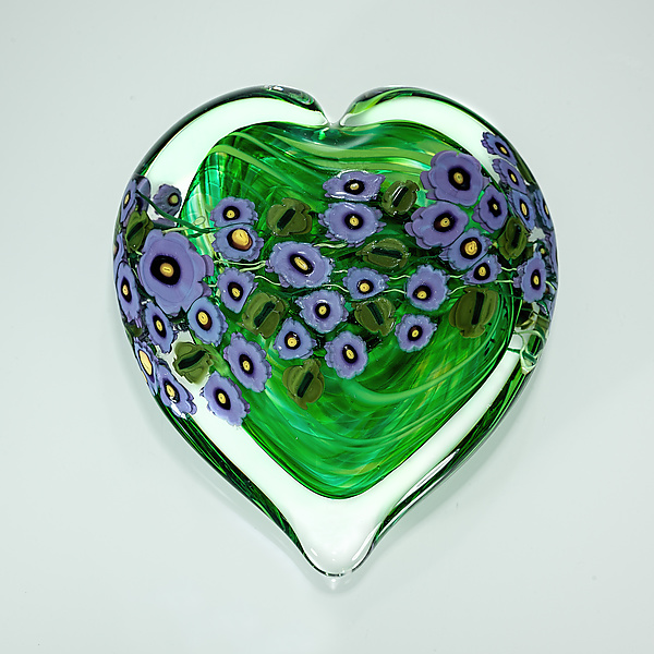 Violets on Green Heart Paperweight