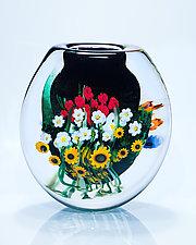 Landscape Series Cased Vase Black by Shawn Messenger (Art Glass Vase)