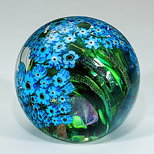 Forget-Me-Nots on Green Paperweight by Shawn Messenger (Art Glass Paperweight)