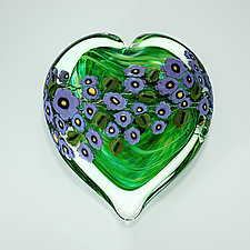 Violets on Green Heart Paperweight by Shawn Messenger (Art Glass Paperweight)