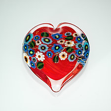 Honeysuckle and Blue Flowers on Cherry Heart Paperweight by Shawn Messenger (Art Glass Paperweight)