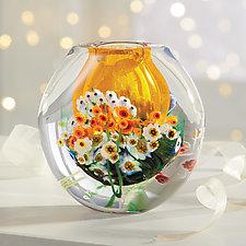 Landscape Series Vase Tangerine by Shawn Messenger (Art Glass Vase)