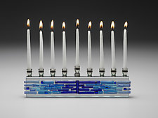 Parting of the Sea Aqua Blue Menorah by Alicia Kelemen (Art Glass Menorah)