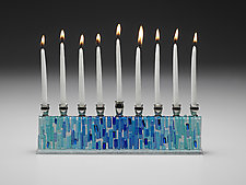 Jerusalem Aqua Blue Menorah by Alicia Kelemen (Art Glass Menorah)