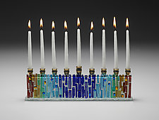 Jerusalem Rainbow Menorah by Alicia Kelemen (Art Glass Menorah)