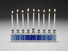Blue II Icicle Menorah by Alicia Kelemen (Art Glass Menorah)