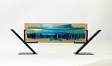 Turquoise Waterfall IV by Alicia Kelemen (Art Glass Sculpture)