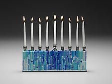 Jerusalem Aqua Sea Menorah by Alicia Kelemen (Art Glass Menorah)