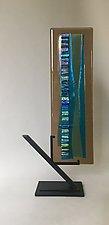 Turquoise Waterfall III by Alicia Kelemen (Art Glass Sculpture)