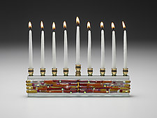 Parting of the Sea Sunset Menorah by Alicia Kelemen (Art Glass Menorah)