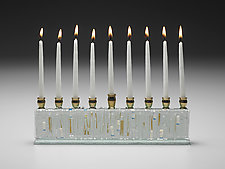Jerusalem Golden Clear Menorah by Alicia Kelemen (Art Glass Menorah)