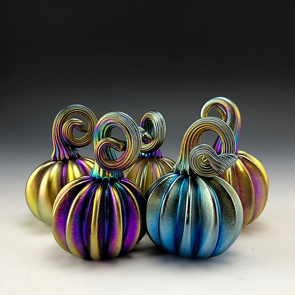 Five Blue and Gold Luster Pumpkins with Gold Stems