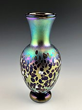 Blue and Gold Lustre Vase by Donald  Carlson (Art Glass Vase)
