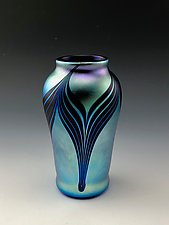 Private Collection Blue Luster Vase by Donald  Carlson (Art Glass Vase)