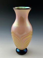 Soft Pink Footed Vase by Donald  Carlson (Art Glass Vase)