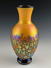 Orange Bubbles Vase by Donald  Carlson (Art Glass Vase)