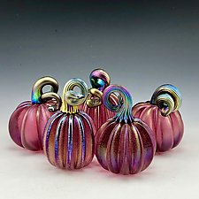 Five Pink Luster Pumpkins with Gold Stems by Donald  Carlson (Art Glass Sculpture)