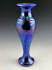 Blue Lustre Blown Vase by Donald  Carlson (Art Glass Vase)