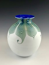 White and Blue Feather Pattern Vase by Donald  Carlson (Art Glass Vase)