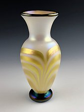 White and Gold Lustre Vase II by Donald  Carlson (Art Glass Vase)