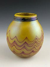 Yellow Basket by Donald  Carlson (Art Glass Vase)