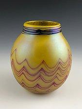 Yellow Basket by Donald  Carlson (Art Glass Vase)