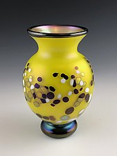 Yellow and Gold Lustre Bubbles by Donald  Carlson (Art Glass Vase)