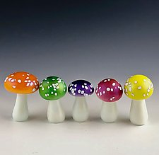 Magic Mushroom Quintet by Donald  Carlson (Art Glass Sculpture)