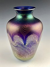 Blue and Copper Vase by Donald  Carlson (Art Glass Vase)