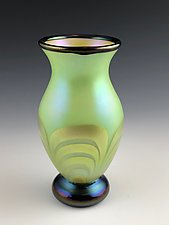 Green and Gold Luster Vase by Donald  Carlson (Art Glass Vase)