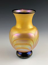 Tangerine and Gold Lustre Vase by Donald  Carlson (Art Glass Vase)