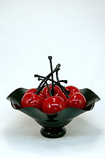 Black Fluted Bowl of Cherries by Donald  Carlson (Art Glass Sculpture)