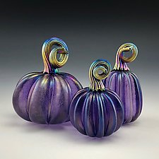 Three Purple Pumpkins with Gold Luster Stems by Donald  Carlson (Art Glass Sculpture)