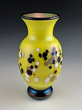 Footed Yellow Dot Vase by Donald  Carlson (Art Glass Vase)