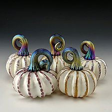 Five White and Gold Luster Pumpkins by Donald  Carlson (Art Glass Sculpture)