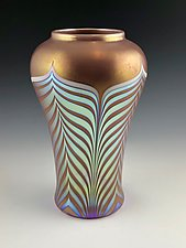 Golden Feather Pattern Vase by Donald  Carlson (Art Glass Vase)