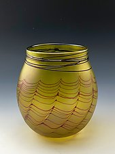 Transparent Yellow Basket by Donald  Carlson (Art Glass Vessel)