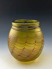 Transparent Yellow Basket by Donald  Carlson (Art Glass Vessel)