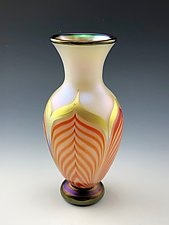White, Red, Gold, and Black Footed Vase by Donald  Carlson (Art Glass Vase)