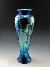 Blue Luster Vase with Hearts and Vines by Donald  Carlson (Art Glass Vase)