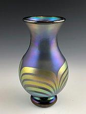 Transparent Blue Purple Vase by Donald  Carlson (Art Glass Vase)